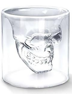 Serin şeffaf yaratıcı korkunç kafatası kafası tasarımı yenilik drinkware şarap atış cam bardak 75ml