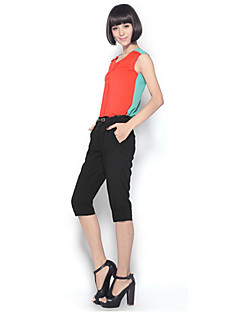 Zoely Women's Sweet Round Neck Solid Color Chiffon Sleeveless T Shirt 101121T055