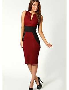 Women's Deep V-neck Stitching Contrast Color Bodycon Knee-length Dress