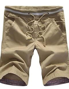 Ensfarvet Mænds Fritid Shorts Bomuld Sort / Blå / Grøn / Orange / Beige / Gulbrun