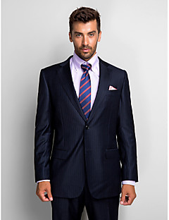 Stripes Tailored Fit Wool Polyester Suit - Notch Single Breasted Two-buttons