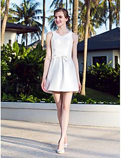 billiga Brudklänningar-A-linje V-hals Kort / mini Nylontaft Bröllopsklänningar tillverkade med Rosett av LAN TING BRIDE®