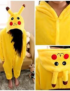 Kigurumi Pyjamas Pika Pika Kokopuku Yöpuvut Asu Flanelli Fleece Keltainen Cosplay varten Lapset Animal Sleepwear Sarjakuva Halloween