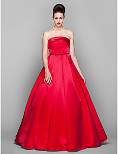 cheap Celebrity Dresses-Ball Gown Strapless Floor Length Satin Prom Formal Evening Military Ball Black Tie Gala Dress with Bow(s) Sash / Ribbon by TS Couture®