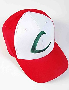 billige Anime cosplay-Hatt/Lue Inspirert av Pocket Little Monster Ash Ketchum Anime Cosplay-tilbehør Hatt CAP konstruktion Bomull Herre Dame