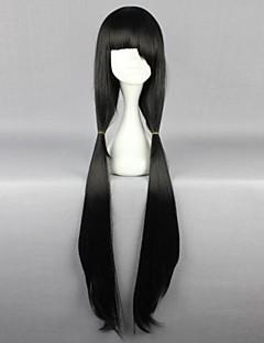 פאות קוספליי Date A Live Kurumi Tokisaki שחור ארוך אנימה פאות קוספליי 100 CM סיבים עמידים לחום נקבה