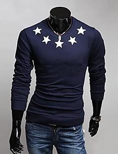 Print-Informeel-Heren-Katoenmix-T-shirt-Lange mouw Blauw / Wit