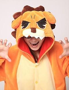 billige Kigurumi-Voksne Kigurumi-pysjamas Løve Onesie-pysjamas Korallfleece Oransje Cosplay Til Damer og Herrer Pysjamas med dyremotiv Tegnefilm Halloween Festival / høytid