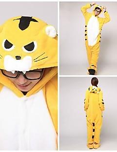 Kigurumi Pyjamas Tiger Kostume Gul Korallfleece Kigurumi Trikot / Heldraktskostymer Cosplay Festival / høytid Pysjamas med dyremotiv