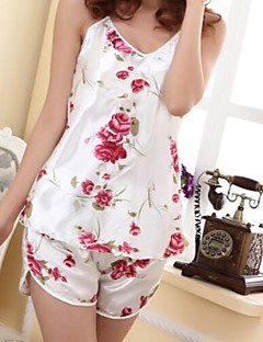 Women Sexy Floral Print Satin Straped Pajama Thin,Two Piece Set