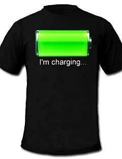 LED-T-Shirts Musik aktivierte LED Lampen Baumwolle Neuheit 2 AAA Batterien