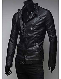 Men's Club Men's  Double Zipper Slim Leather Causual Stand Coats