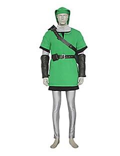 billige Videospill Kostymer-Inspirert av The Legend of Zelda Link video Spill Cosplay Kostumer Cosplay Suits Lapper Grønn Vest / Topp / Bukser / Bælte