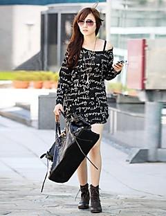billige T-shirt-Dame - Bogstaver Moderne Stil / Sexy / Trykt mønster Chic & Moderne / Gade T-shirt / Forår / Efterår / Vinter