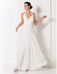 billiga Aftonklänningar-Åtsmitande Halterneck Golvlång Jersey Bal / Formell kväll Klänning med Pärldetaljer av TS Couture®