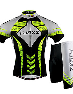 cheap Cycling Clothing-FJQXZ Men's Short Sleeves Cycling Jersey with Shorts - Silver/Black Bike Clothing Suits, Quick Dry, Ultraviolet Resistant, Breathable, 3D