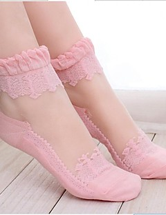 Women's Fashion Solid Color Lace Perspective Socks Black Pink Sheer