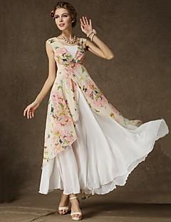 florale fără mâneci roz rochie, plaja / print / Maxi V Neck femei stratificat