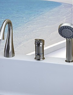 billige Foss-Badekarskran - Moderne Nikkel Børstet Badekar Og Dusj Keramisk Ventil / Enkelt håndtak tre hull