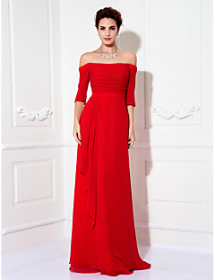 cheap -Sheath / Column Off Shoulder Floor Length Chiffon Prom / Formal Evening / Military Ball Dress with Ruched Side Draping by TS Couture®