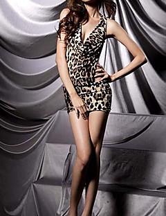 billige Nattøy til damer-Dame Super Sexy Skjorter og kjoler / Teddy Nattøy - Leopard, Trykt mønster / V-hals