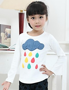 Print Tee,Cotton Winter Fall Long Sleeve White Gray