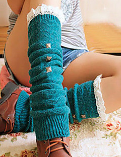Women's Solid Color Rivets with Lace Knit Boot Socks Leg Warmers