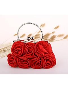 hesapli -Kadın's Çantalar Naylon Gece Çantası Çiçekli için Düğün / El Çantası / Düğün Partisi Sonbahar Kış Siyah / Kırmzı / Kayısı