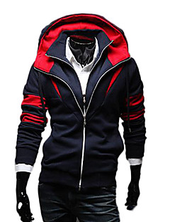 Lesen Men's Hoodie Fashion Contrast Color False Two Pieces Casual Hoodie O