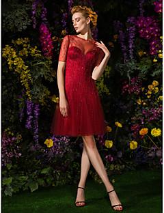 Χαμηλού Κόστους Με την υπογραφή της AURORA Couture-Γραμμή Α / Εφαρμοστό & Εμβαζέ Illusion Seckline Μέχρι το γόνατο Τούλι Όμορφη Πλάτη / See Through Κοκτέιλ Πάρτι / Χοροεσπερίδα Φόρεμα με Χάντρες / Κουμπί με TS Couture® / Ψευδαίσθηση