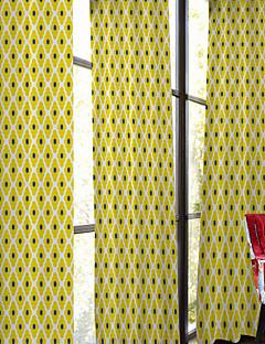 billige Gardiner-Stanglomme Propp Topp Fane Top To paneler Window Treatment Designer, Trykk Soverom Polyester Materiale gardiner gardiner Hjem Dekor