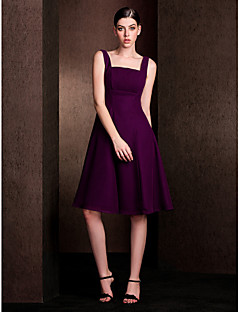 A-Line Square Neck Knee Length Chiffon Stretch Satin Bridesmaid Dress with Draping by LAN TING BRIDE®