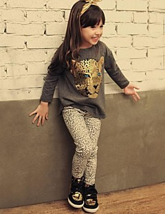 Girls' Animal Print Sets Spring Fall Long Sleeve Clothing Set Animal Print Black Beige Dark Gray