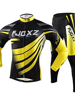 FJQXZ Cycling Jersey with Tights Men's Long Sleeves Bike Winter Autumn Clothing Suits Polyester Quick Dry Ultraviolet Resistant Breathable-Yellow