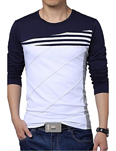 Men's Plus Size Striped/Patchwork White/Navy Blue T-shirt,Casual Slimming Crew Neck 3/4 Sleeve