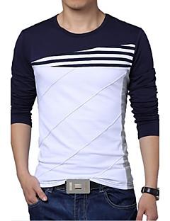 Herren T-shirt-Einfarbig Freizeit / Übergröße Baumwolle / Polyester Lang-Blau / Weiß