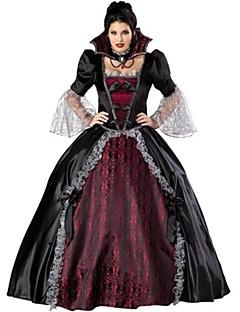 billige Voksenkostymer-Vampyrer Cosplay Kostumer Party-kostyme Kvinnelig Halloween Festival / høytid Halloween-kostymer Svart/Rød Vintage