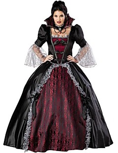 billige Voksenkostymer-Vampyrer Cosplay Kostumer Party-kostyme Dame Halloween Festival / høytid Halloween-kostymer Svart/Rød Vintage
