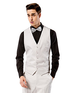 cheap Vests & Pants-Light Solid Grey Solid Polyester Tailored Fit Suit Vest Single Breasted More-buttons