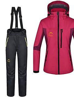 Mulheres Conjunto de Jaqueta com Calça de Trilha Ao ar livre Inverno Prova-de-Água Térmico/Quente A Prova de Vento Tosão Calças Jaquetas