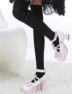 hesapli Uzun Çorap-Çoraplar Uyluk Yüksekliğinde Çoraplar Sweet Lolita Sweet Lolita Lolita Kadın Siyah Beyaz Kahverengi Lolita Aksesuarları Solid Kalpler