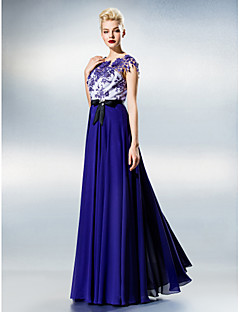 A-Line Jewel Neck Floor Length Chiffon Lace Prom Dress with Lace by TS Couture®