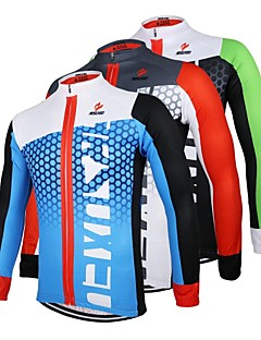 Arsuxeo Cycling Jersey Men's Long Sleeves Bike Jersey Top Quick Dry Anatomic Design Front Zipper Breathable 100% Polyester Patchwork