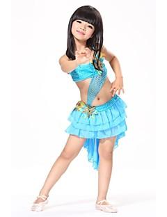 hesapli -Latin Dansı Kıyafetler Çocuklar için Performans Eğitim Şifon Süs Pullu Tüyler Tüyler/Kürk Kolsuz Doğal