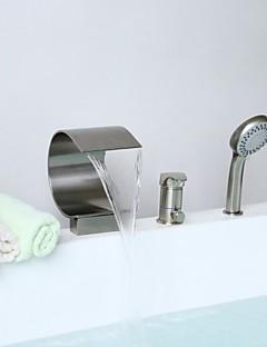 billige Foss-Badekarskran - Moderne Nikkel Børstet Badekar Og Dusj Keramisk Ventil / Messing / Enkelt håndtak tre hull