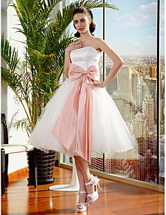 billiga Balbrudklänningar-Balklänning Axelbandslös Knälång Tyll Bröllopsklänningar tillverkade med Rosett / Bälte / band av LAN TING BRIDE® / Liten vit klänning