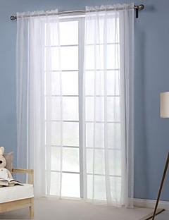 billige Vinduskolleksjoner-Stanglomme Propp Topp Fane Top Dobbelt Plissert Et panel Window Treatment Moderne , Trykk Ensfarget Stue Polyester Materiale Gardiner