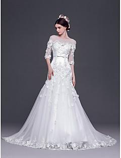 billiga Brudklänningar-A-linje / Prinsessa Brudklänning Svepsläp Båt Tyll med