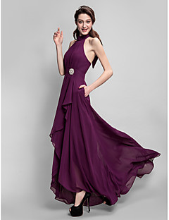 cheap Long Bridesmaid Dresses-A-Line High Neck Asymmetrical Chiffon Bridesmaid Dress with Bow(s) Draping Pocket Crystal Brooch by LAN TING BRIDE®