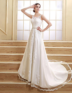 A-linje Besmykket Hoffslep Sateng Tyll Bryllupskjole med Perlearbeid Appliqué av Sarahbridal